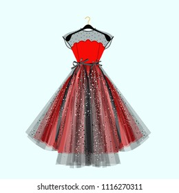 Black and red fancy dress for special event with decor. Vector Fashion illustration for online shop