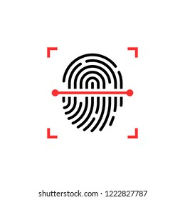 black and red fingerprint thin line scanner. flat linear logotype graphic button design isolated on white. concept of individuality key fingertip like computer phone unlock for pay or account safety