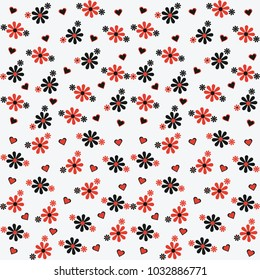 Black and red flowers seamless pattern on gray background