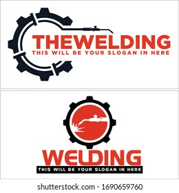 Black red gear welding tool spark circle symbol initial logo design suitable for construction pipeline welder oilfield industry service repair
