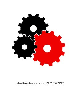 Black and red gearwheel silhouette symbol