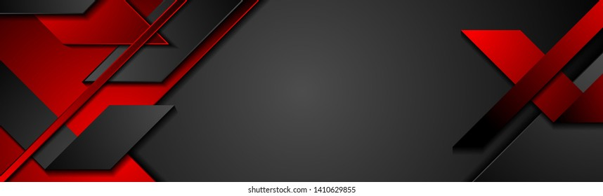Black and red geometric corporate banner design. Vector background