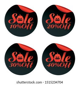 Black, red Halloween sale stickers set with pumpkin 10%, 20%, 30%, 40% off. Vector illustration
