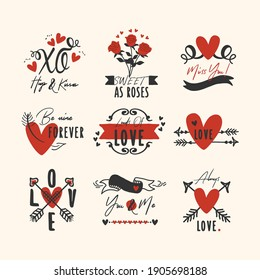 Black and red hand drawn heart and love emblems and labels icons set design elements on pink background