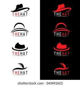 Black and red hat logo vector set design