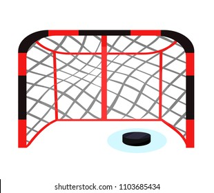 Black, red hockey gate on ice with puck. Modern flat cartoons style vector illustration icons. Isolated on white background. Hockey arena. Hockey game concept. Goal. Sport equipments, tool accessories