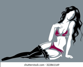 Black and Red Illustration of a Girl Posing for a Boudoir Photograph