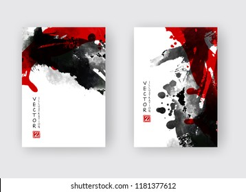 Black and red ink brush stroke on white background. Japanese style. Vector illustration of grunge stains