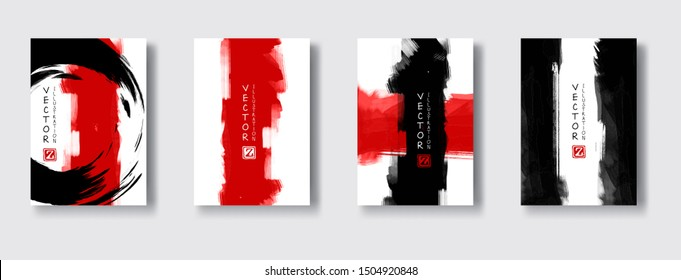 Black red ink brush stroke on white background. Japanese style. Vector illustration of grunge wave stains.Vector brushes illustration.