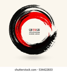 Black and red ink round stroke on white background. Vector illustration of grunge circle stains. Enso calligraphy element japanese or chinese style.