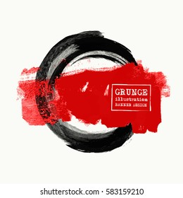 Black and red ink round stroke on white background. Japanese style. Vector illustration of grunge circle stains.