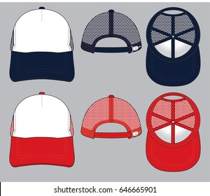 Black And Red Mesh Trucker Cap Vector For Template.
