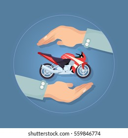 Black and red modern fast motorbike in two carefull hands. Two wheels and tyres throttle seat powerful engine exhaust system footrests and fuel system. Insuranceservice company vector logo