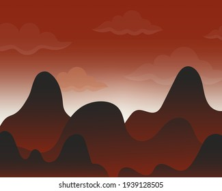 Black and red mountain landscape and sunset