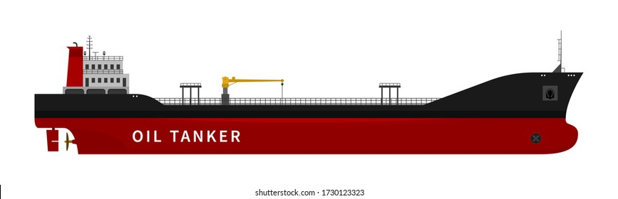 Black red oil tanker isolated on white background. Flat vector illustration of cargo ship with fuel and petroleum transport import export industry. Nautical vessel in the ocean.