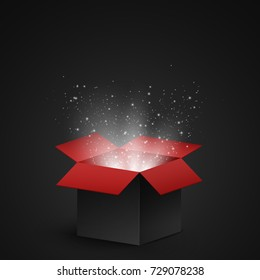 Black and red open box with magical dust and luminous white particles on a dark background. Abstract white lights. Vector illustration