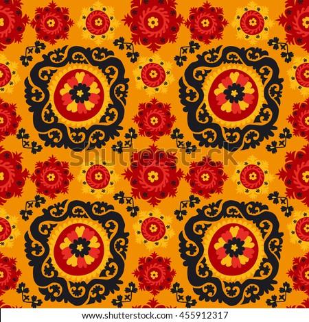 Black Red Orange Traditional Asian Carpet Stock Vector