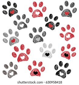 Black and red paw print with hearts background