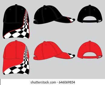 Black and Red Race Sport Baseball Cap Design Vector