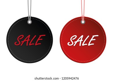 black and red sale hanging round label discount for promotion vector illustration EPS10