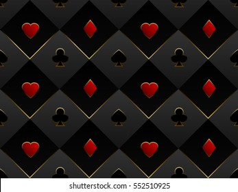 Black and red seamless pattern fabric poker table. Minimalistic casino vector 3d background with texture composed from volume card symbol