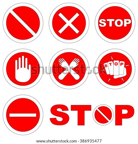Black Red Set Stop Signs Symbols Stock Vector Royalty Free