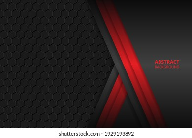 Black and red shapes, stripes and lines on a hexagonal carbon fiber background. Geometric shapes on a honeycomb grid.
