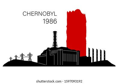 Black and red silhouette of Chernobyl nuclear power plant in moment disaster, isolated on white background. Date April 26, 1986. Monochrome design concept. Place for text. Stock vector illustration