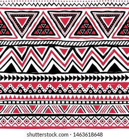 Black and red tribal seamless pattern. Aztec ethnic geometric print. Native American backdrop. Vector