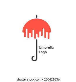 black and red umbrella logotype. concept of thunderstorm, gingham, single pictogram, overcast and cloudy. isolated on white background. flat style trendy modern brand design vector illustration