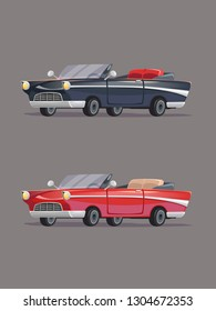 Black and red vintage cadillac. Retro cars set. Vector Illustration. Cartoon style. Realistic.