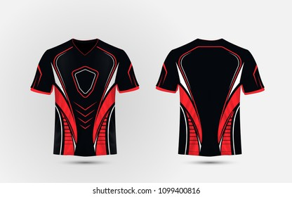 Black, Red and white layout e sport t-shirt design template