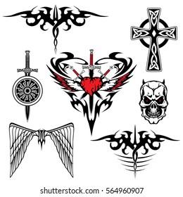 black red white tattoo set abstraction wing sword shield heart skull cross viking celtic vector