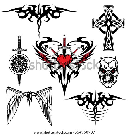 Black Red White Tattoo Set Abstraction Stockvector Rechtenvrij
