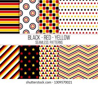 black red yellow geometric seamless pattern set