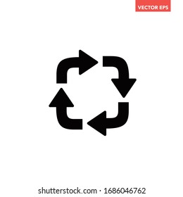 Black repetitive process with round square arrows icon, simple 4 angle arrows flat design pictogram concept vector for app ads web banner button ui ux interface elements isolated on white background
