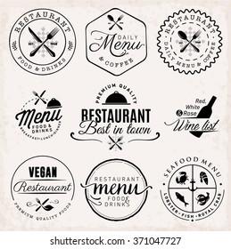 Black Restaurant Menu Badges and Food Design Elements