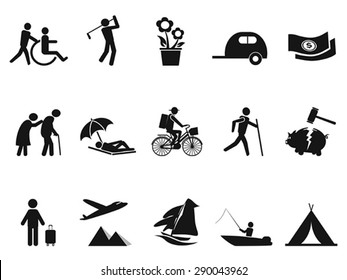 black retirement life icons set