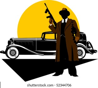 Black retro car on a background of yellow moon;