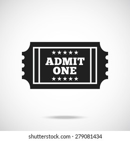 Black retro cinema ticket icon. Creative trendy vector illustration.