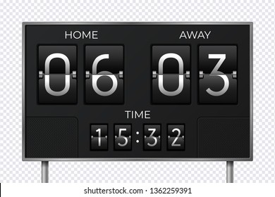Black retro scoreboard. Stadium soccer countdown clock, goal sport result, electronic time panel. Vector timer score and time panel