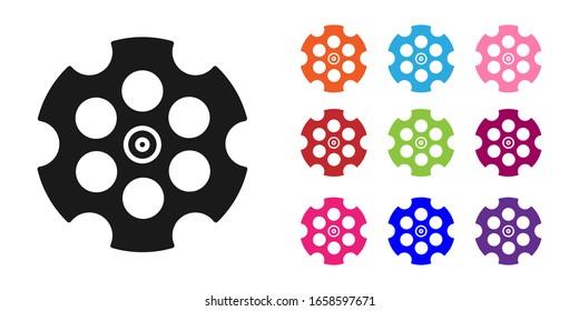 Black Revolver cylinder icon isolated on white background. Set icons colorful. Vector Illustration