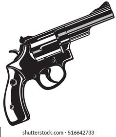 Black Revolver Gun isolated on white background.