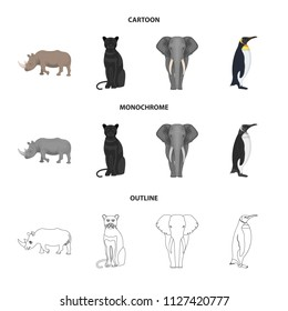 Black rhinoceros, panther wild cat, African animal elephant, imperial penguin. Wild animals set collection icons in cartoon,outline,monochrome style vector symbol stock illustration web.