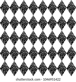 Black rhombuses tessellation on white background. Seamless surface pattern. Crossed lines wallpaper. Grid motif. Digital paper for textile print, page fill. Vector art