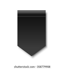 Black ribbon. Banner. Paper scroll. Vector illustration.