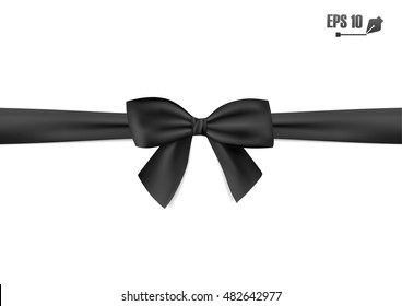 Black ribbon with bow on a white background. Vector illustration.