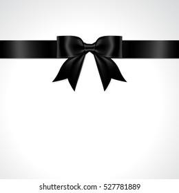 Black ribbon bow vector. Isolate black bow vector