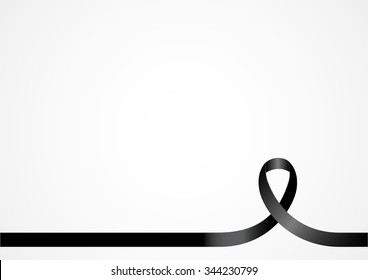 Black ribbon for design background template with copy space.