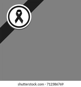 black ribbon gray background top left corner
